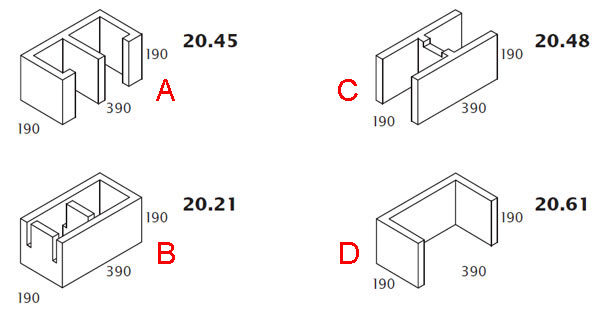 Плавательный бассейн на блоках Бессера - типы применяемых блоков