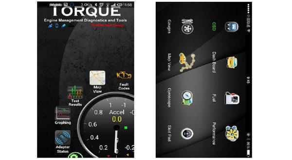 Сканер OBD-II и рабочие экраны программы Torque