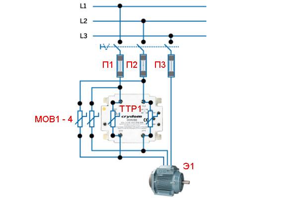 Реверс твердотельными реле - схема на трёхфазном приборе с функцией реверсирования