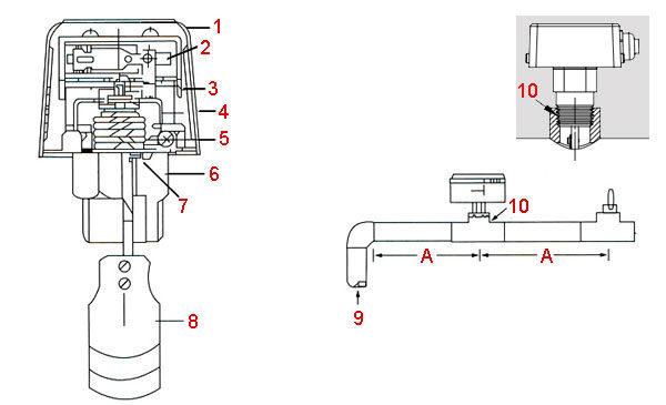 Реле протока воды - классическая монтажная схема
